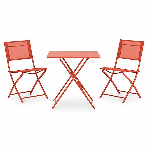 chaise pliante rouge metal