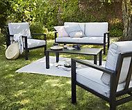 Salon bas de jardin Blooma Jaz aluminium gris 4 personnes
