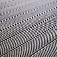 Lame de terrasse composite gris Blooma Hudson L.240 x l.12,7 cm