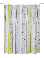 Rideau de douche plastique Peva multicolore décor bambou 180 x 200 cm Kuyto