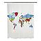 Rideau de douche en plastique PEVA multicolore décor carte L.180 x H.200 cm Nupe