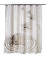 Rideau de douche tissu multicolore décor plage 180 x 200 cm Surma