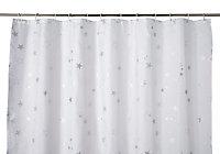 Rideau de douche tissu blanc décor étoilé 180 x 200 cm Drawa