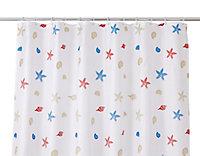 Rideau de douche tissu multicolore décor étoile de mer 180 x 200 cm Andrano