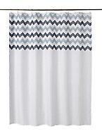 Rideau de douche tissu multicolore décor chevron 180 x 200 cm Tigoda