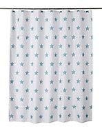 Rideau de douche tissu blanc décor étoilé 180 x 200 cm Crinnis