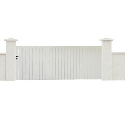 Portail Coulissant Pvc Luchon Blanc 350 X H 140 Cm Castorama
