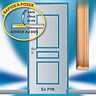 Déco de porte adhésive en pin 3 panneaux droits