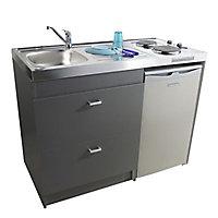Kitchenette Silver grise, caisson + plan de travail + évier + frigo + plaque électrique