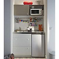 Kitchenette Silver blanche, casserolier + plan de travail + évier + frigo + plaque électrique