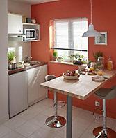 Kitchenette Simply blanche, caisson + plan de travail + évier + frigo + plaque vitrocéramique