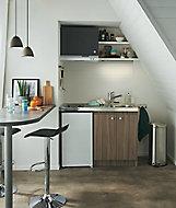 Kitchenette Silver imitation bois, caisson + plan de travail + évier + frigo + plaque vitrocéramique