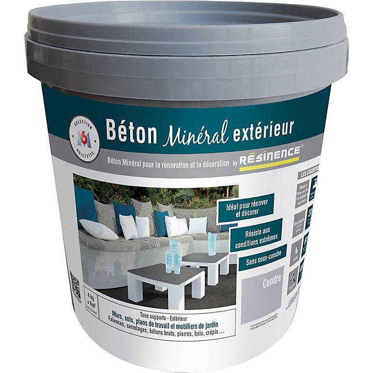 Enduit Beton Mineral Exterieur Resinence Cendre Mat 4kg Castorama