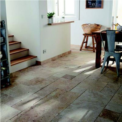Carrelage sol beige 20,3 x 40,6 cm Travertin (vendu au ...