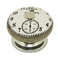 4 boutons de meuble Horloge porcelaine gris 3,8 x 3 cm