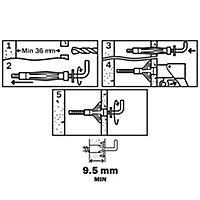 4 chevilles Diall murs creux HL M4x46mm