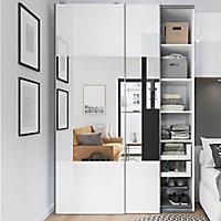 4 panneaux de portes coulissantes blancs brillants GoodHome Atomia H.56 x L. 73,7 cm