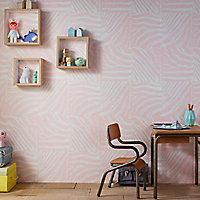 Papier peint vinyle sur intissé Rasch Zèbre rose pastel
