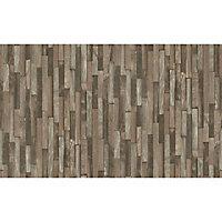 Papier peint vinyle sur intissé Erismann plaquette bois vertical brun
