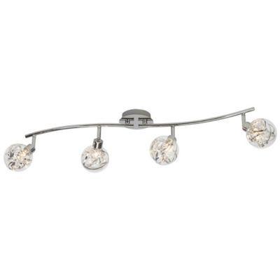 Arc plafonnier cinta métalverre chrome 4 spots led g9 30w