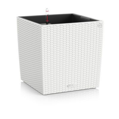 Pot carré plastique Lechuza Cottage blanc 40 x 40 x h.40 cm