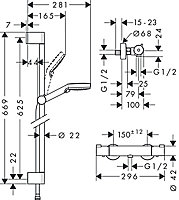 Kit de douche thermostatique Hansgrohe Crometta Vario