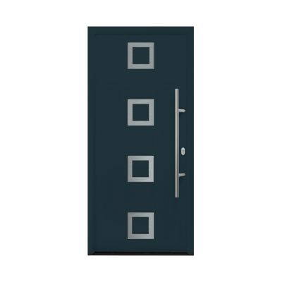 Porte d'entrée acier Inserts carrés gris anthracite 90 x h.215 cm poussant droit
