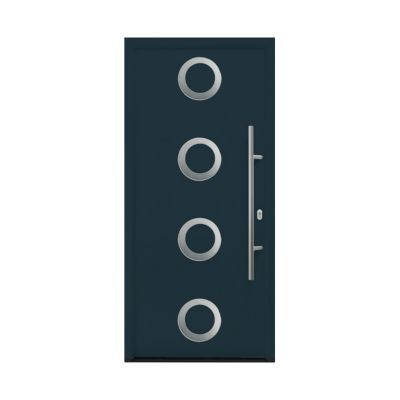 Porte d'entrée acier Hublots inserts gris anthracite 90 x h.215 cm poussant droit