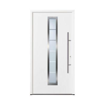 Porte d'entrée acier Vitrée blanc trafic 90 x h.h.215 cm poussant droit