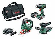 Lot de 3 outils bosch, perceuse - scie sauteuse - ponceuse excentrique 18V