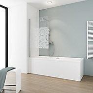 Pare-baignoire 80 x 140 cm, Schulte, paroi de baignoire 1 volet pivotant, verre transparent anticalcaire, cercles