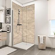 Lot de 2 panneaux muraux salle de bains 100 x 210 cm, Schulte DécoDesign Décor, castello beige