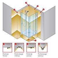 Profilé d'angle intérieur pour panneaux muraux Schulte DécoDesign, aspect chromé
