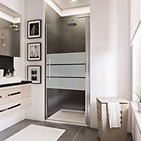 Porte de douche pivotante, 90 x 192 cm, Schulte NewStyle, verre transparent anticalcaire, Dépoli light