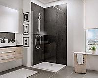 Paroi de douche fixe à l'italienne, 100 x 190 cm, Schulte NewStyle, Walk In, verre transparent anticalcaire