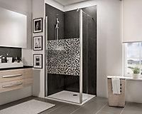 Paroi de douche fixe à l'italienne + paroi de retour pivotante, 90 x 190 cm, Schulte NewStyle, Walk In, verre transparent anticalcaire, Galets chromés