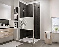 Paroi de douche fixe à l'italienne + paroi de retour pivotante, 100 x 190 cm, Schulte NewStyle, Walk In, verre transparent anticalcaire, Softcube
