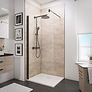 Paroi de douche fixe à l'italienne, 100 x 190 cm, Schulte NewStyle, Walk In, verre transparent anticalcaire, profilé noir