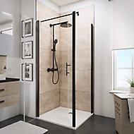 Paroi latérale fixe pour portes de douche battantes, 80 cm, NewStyle Schulte, verre transparent anticalcaire, profilé noir