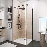 Paroi latérale fixe pour portes de douche battantes, 90 cm, NewStyle Schulte, verre transparent anticalcaire, profilé noir