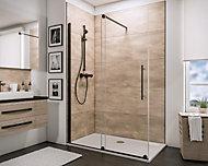 Paroi de douche Walk In coulissante, 120 x 190 cm, Schulte NewStyle, verre transparent anticalcaire, profilé noir