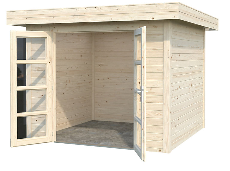 abri bois toit plat volga 908 m² ép28 mm  castorama