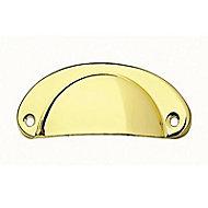 5 poignées de meuble Coquille acier laiton Ø 66 mm