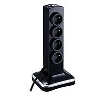 Multiprise 8 prises parafoudre vertical USB 2m noir