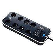 Multiprise 8 prises parafoudre USB 2m noir