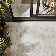 Carrelage extérieur Pinewood blanc 20 x 80 cm