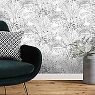Papier peint vinyle texturé sur intissé GoodHome Oophoric en noir et blanc 230 cm