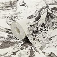Papier peint vinyle texturé sur intissé GoodHome Chooky noir et blanc