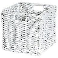 Boîte de rangement carrée en fibre naturelle Mixxit coloris blanc
