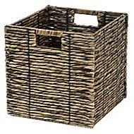 Boîte de rangement carrée en fibre naturelle Mixxit coloris noir